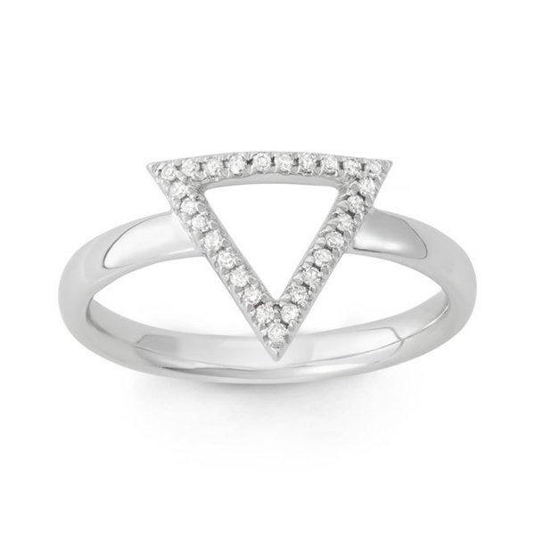 14k White Gold Diamond Accent Open Triangle Midi Ring