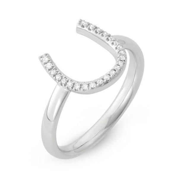 14k White Gold Diamond Accent Horseshoe Midi Ring