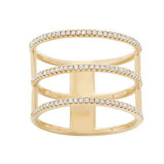 14k Gold 1/3ct TDW Diamond Three-row Fashion Ring (G-H, I1-I2)