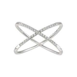 14k 1/10ct TDW Diamond 'X' Fashion Ring (G-H, I1-I2)