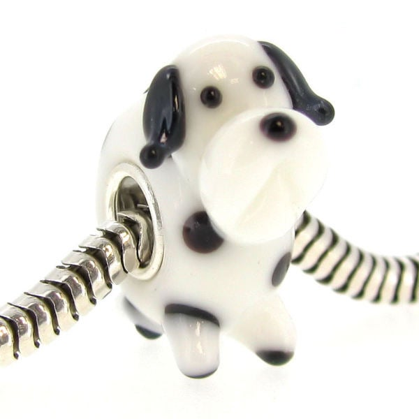 Queenberry Sterling Silver Dalmatian Dog Glass Murano Lampwork European Bead Charm 15260373