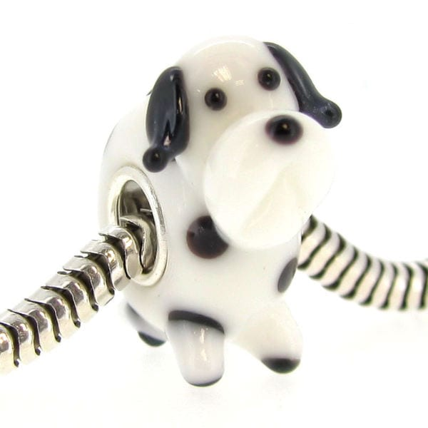 Queenberry Sterling Silver Dalmatian Dog Glass Lampwork European Bead Charm 15260373