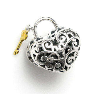 Queenberry Sterling Silver Goldtone Key Filigree Love Lock European Bead Charm