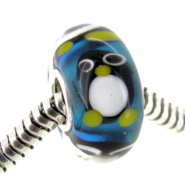 Queenberry Sterling Silver Round Penguin Blue Glass Murano Lampwork European Bead Charm 15260386