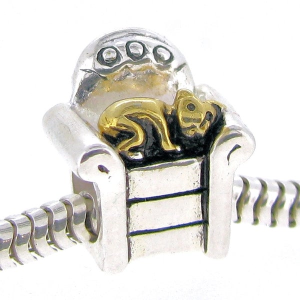 Queenberry Sterling Silver Golden Kitten Sleeping on Sofa European Bead Charm