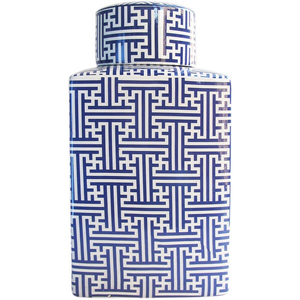 Maze Blue Jar with Lid