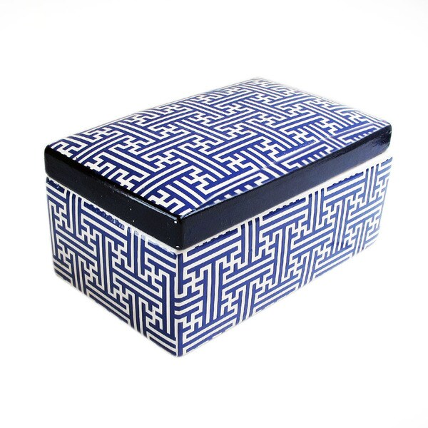 Maze Blue Ceramic Box