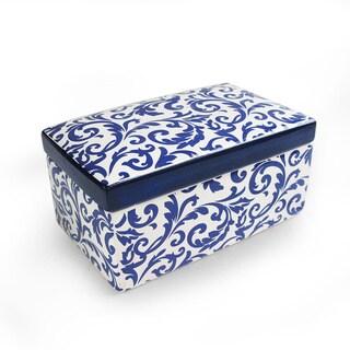 Scroll Blue Ceramic Box