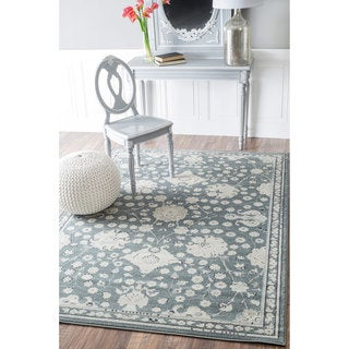 nuLOOM Traditional Abstract Floral Blue Rug (7'10 x 11')