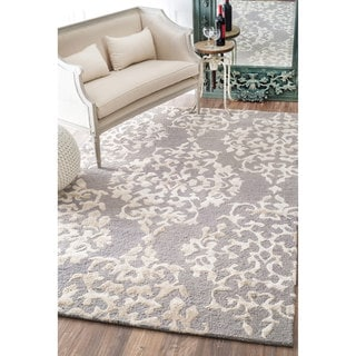 nuLOOM Handmade Contemporary Silk/ Wool Rug (9' x 12')