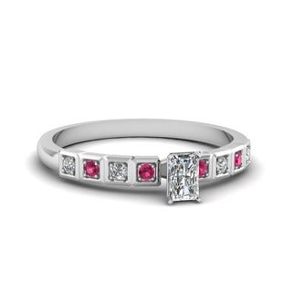 14k White Gold 1/2ct TDW Radiant-cut Diamond and Pink Sapphire Engagement Ring (G-H, VS1-VS2)
