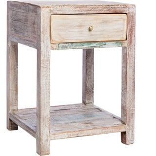 Stripped Teak Wood 1-drawer Side Table (India)