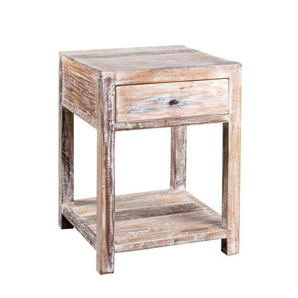 Teak Coffee Table India: Stripped Teak Wood 1-drawer Side Table (India