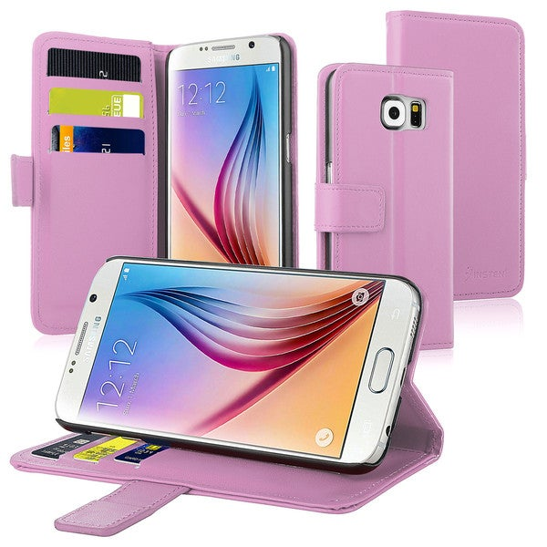 Insten Pink Leather Wallet Flap Pouch Phone Cover with Stand for Samsung Galaxy S6