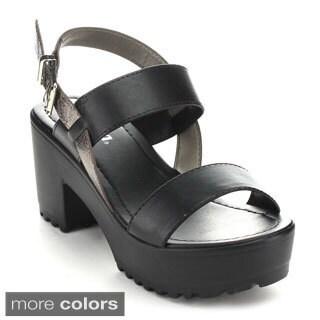 Soda Debra Women's Lug Sole Platform Ankle Strap Heels