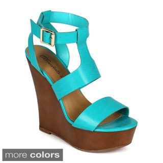 Breckelle's CHELSEY-01 Women's Ankle Strap Caged Cut Out Wedges
