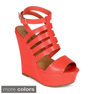 Breckelle's CHELSEY-02 Women's Strappy Ankle Strap Platform Wedges