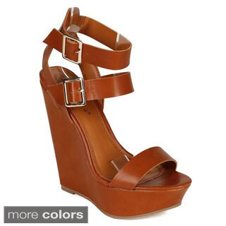 Breckelle's VALERY-11 Women's Double Ankle Strap Wedges