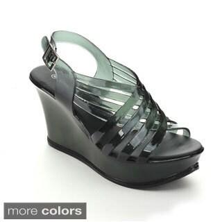 Spirit Moda BONNY-1 Women's Elegance Sling Back Criss Cross Jelly Platform Wedges