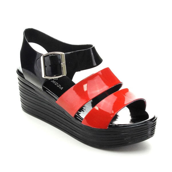 Spirit Moda BONITA-1 Women's Summer Ankle Strap Jelly Wedges
