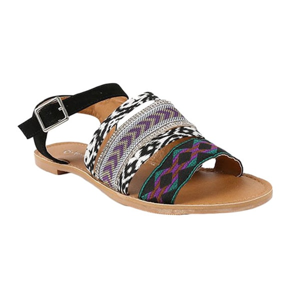 Qupid Women's 'ATHENA-816AX' Strappy Rhinestone Flat Sandals