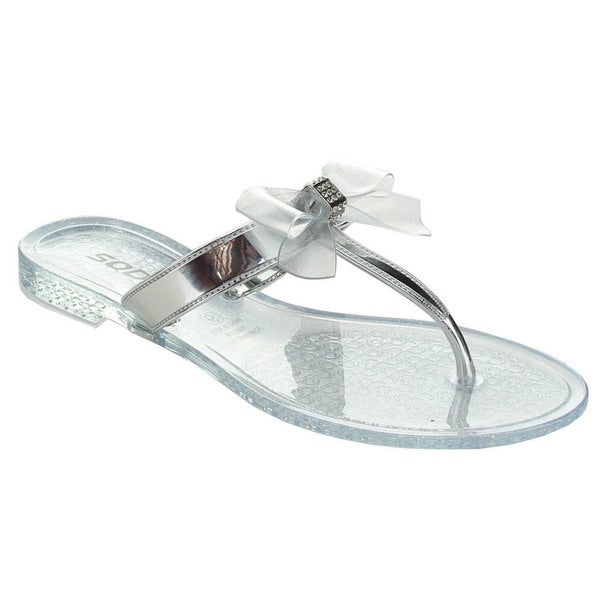 Soda Gel Women's Rhinestone Bow Jelly Flip-Flop Thong Sandals