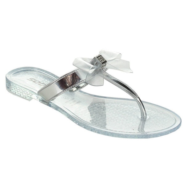 Soda Gel Women's Rhinestone Bow Jelly Flip-Flop Thong Sandals