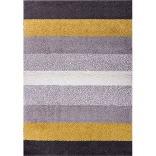 Well Woven Soft and Plush Bold Stripes Grey Gold Polypropylene Rug (6'7'' x 9'10'')