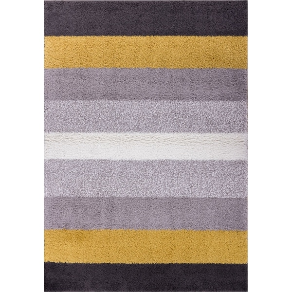 "Well Woven Soft and Plush Bold Stripes Grey Gold Polypropylene Rug (6'7"" x 9'10"")"
