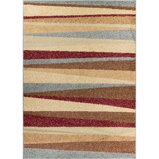 Well-woven Malibu Stripe Line Modern Geometric Contemporary Multi, Red, Blue, Brown, Beige, Ivory, Green Area Rug (5' x 7')