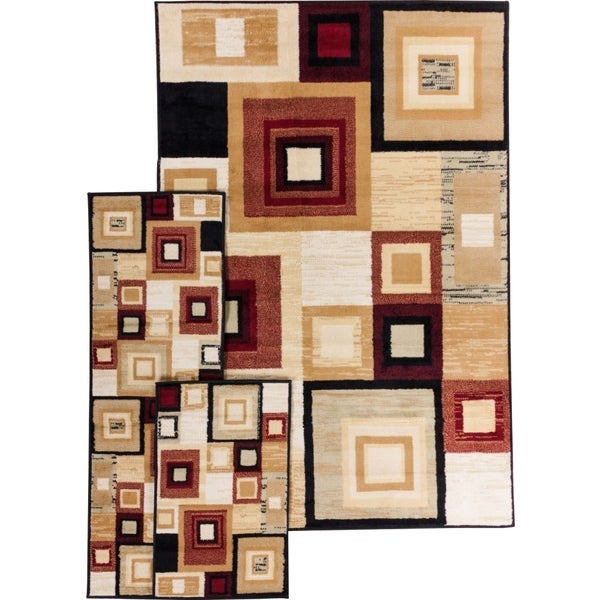 Well Woven Malibu Squares and Boxes Red 3 Piece Rug Set