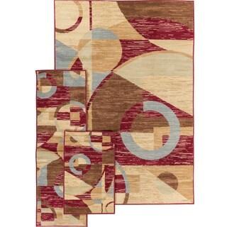 Well-woven Malibu Art Decor Modern Red, Blue, Beige, Green, and Brown 3-piece Rug Set (4'5 x 6'5, 1'8 x 5', 1'8 x 2'6)