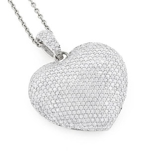 Luxurman 14k Gold 2ct TDW Pave Diamond Heart Necklace (H, SI2-SI2)