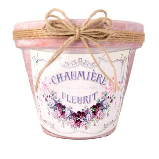Embellished Clay Planter with French Floral Label