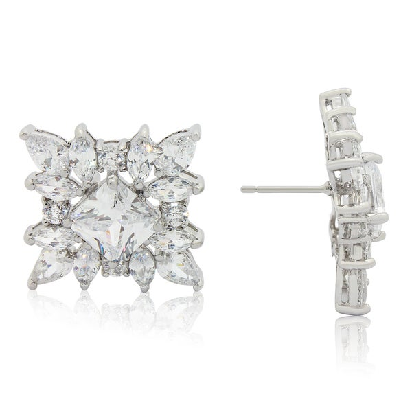 Gioelli Sterling Silver Multi-shape Cubic Zirconia Stud Earrings