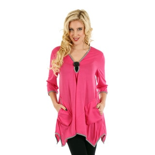 Firmiana Women's 3/4 Sleeve Pink/ Black Sidetail and Accent Button Top