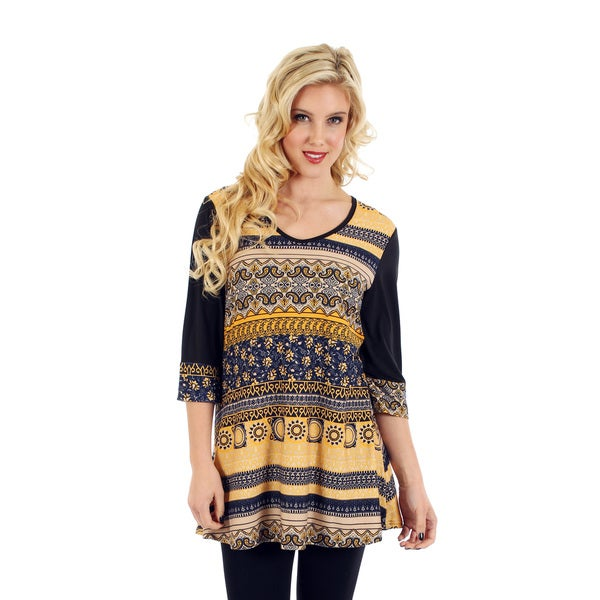 Firmiana Women's 3/4 Sleeve Black Multi Top