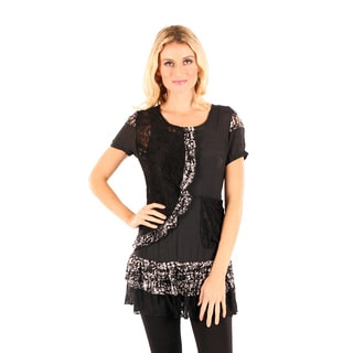 Firmiana Women's Short Sleeve Black and White Top with Lace Ruffle