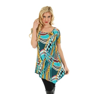 Women's Short Sleeve Teal Multi Top with Off-Center Tail