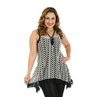 Firmiana Women's Plus Size Sleeveless Grey Laser Cut Top with Lace Sidetails
