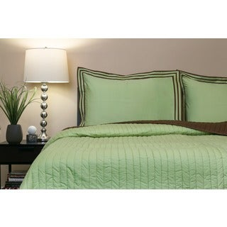 Mystique Citron Cotton 3-piece Queen Quilt Set (India)