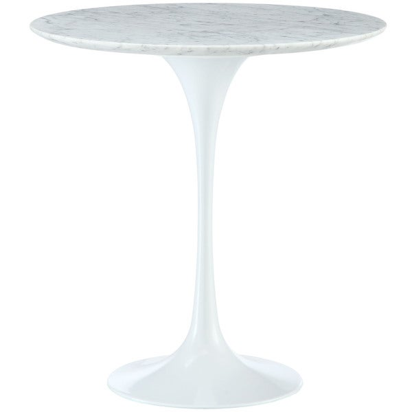 Lippa 20-inch Tulip White Marble-top Side Table