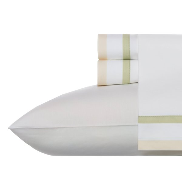 Wedgwood Double Banded Green Cotton Sheet Set