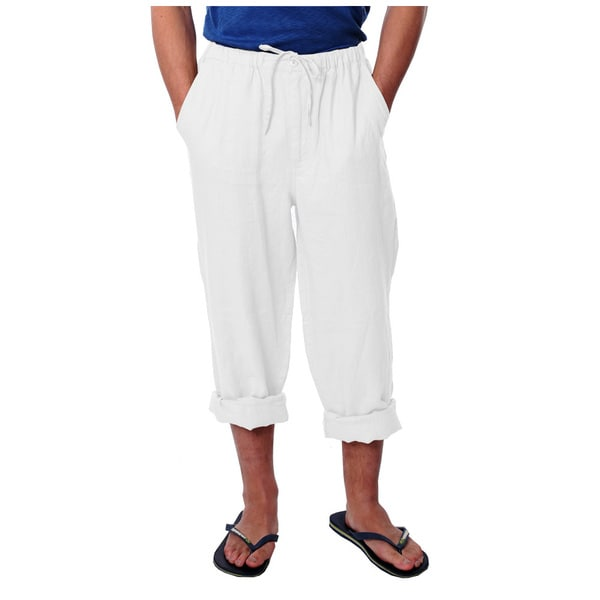 Men's White Drawstring Linen Pants
