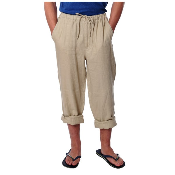 Men's Tan Drawstring Linen Pants