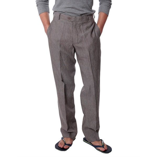 Men's Chocolate Flat Front Linen Pants