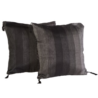 Handloomed Moroccan Grey Striped 16-inch Pillow Pair (Morocco)