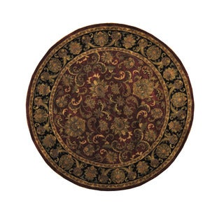 Herat Oriental Indo Hand-knotted Mahal Burgundy/ Black Round Wool Rug (8' x 8')