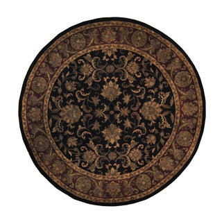 Herat Oriental Indo Hand-knotted Mahal Black/ Bugundy Round Wool Rug (9'2 x 9'2)