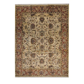 Herat Oriental Indo Hand-knotted Mahal Ivory/ Brown Wool Rug (9' x 12')